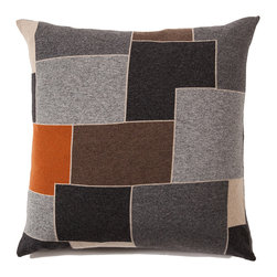 Rani Arabella - Rani Arabella Gray Geo Cashmere Blend Pillow - Neutral shades and an overlapping square design give the 24-by-24 inch Geo Cashmere Blend Pillow its bold, sleek look. Made from 70% cashmere and 30% wool, this pillow features gray, beige, brown and charcoal squares outlined in soft taupe. A bright orange square adds welcome color to the piece. Pair it with warm-toned decor for a cohesive look. Includes a 50% down and 50% polyester insert. Dry clean only. Made in Italy.