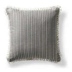 Frontgate - Fairway Stripe Gray Outdoor Pillow - 100% Sunbrella® solution-dyed acrylic fabric. Finished in Ivory eyelash fringe. Resists fading, mold and mildew. High-density polyester fill. Spot clean with mild soap and water; air-dry only. Bursting with welcoming texture and pattern, the Sunbrella Fairway Stripe Slate Outdoor Pillow will instantly enhance your outdoor setting. Embellished with intricate Ivory eyelash fringe and constructed of all-weather fabric, this exclusive pillow maintains its radiance through seasons of use. 100% Sunbrella solution-dyed acrylic fabric .  .  .  .  . Zipper closure . Made in the USA.