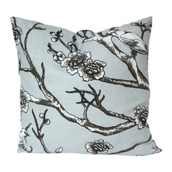 The Pillow Studio - Designer Pillow Cover in Grey Dwell Studio Vintage Blossom Bird Fabric - I love the details in this design and the grey and black color make for a very contemporary pillow.