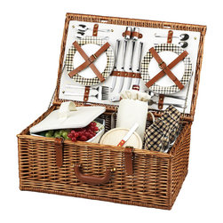 Picnic At Ascot - Dorset Picnic Basket for Four, Wicker W/London - The Dorset English style picnic basket for four is made to last with quality construction and stylish details. Beautifully hand crafted using full reed willow, each basket includes ceramic plates, glass wine glasses, and the highest quality accessories.  Includes: (4) ceramic plates, glass wine glasses, stainless flatware, cotton napkins, (1) food cooler, insulated wine pouch, hardwood cutting board, spill proof salt & pepper shakers, wood handle cheese knife, and stainless waiters corkscrew. Natural Willow with leather handle, closures, hinge covers. Lifetime Warranty.