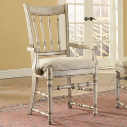 Hooker Furniture - Hooker Furniture Set of 2 Summerglen Spindle Back Arm Chair 479-75-300 - Bring a little summer into your life all year round with this casual country dining group. The Summerglen Spindle Back Arm Chair will liven up any dining area. The white hand painted base and fabric seat, put a lasting summer glow into the room. Don't let the seasons change in your dining room, make this Arm Chair your newest addition.