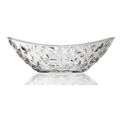 """Lorren Home Trends - RCR Laurus Crystal Oval Bowl, By Lorren Home Trends - RCR Laurus Collection Crystal Oval Bowl.  This modern cut crystal oval bowl is made in the Tuscan region of Italy.  Elegant and timeless oval bowl makes a great centerpiece, fruit bowl, or decorative piece, .  Measures 13.5"""" x 8"""" x 4"""".  Dishwasher safe."""