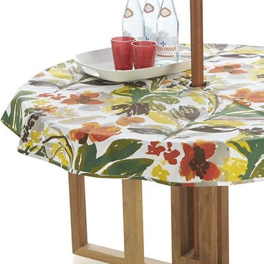 """Handpainted Floral 60"""" Round Umbrella Tablecloth - Hand-painted strokes of bottle green, paprika, sulfur, sprout ribbon red and brown splash expressive and retro in a lush, 1940s-inspired floral pattern. No need to remove the umbrella, our specially designed tablecloth wraps around the pole, snapping into place."""