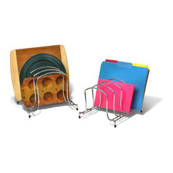 Office Organization - Add extra cabinet space with the Medium and Large Wire Organizer. The sturdy rack organizes your lids, plates, cutting boards and baking sheets with ease. This rack is also great for organizing your office files or personal papers. Made of sturdy steel, pads on the feet offer grip support to protect surfaces from scratches.