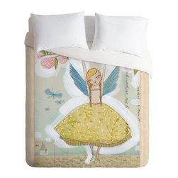 Cori Dantini Make A Little Memory Queen Duvet Cover - This sweet duvet design seems made to grow with your girl. Its fairy print will appeal to dreamers, but the palette and style of the art won't be too saccharine for tweens or teens.
