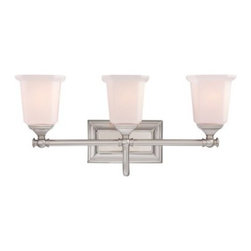 Quoizel Nicholas NL8603 Bath Fixture - 22W in. - With a lovely, transitional style and your choice of finishes, the Quoizel Nicholas NL8603 Bath Fixture - 22W in. makes a sophisticated addition to any contemporary bathroom. This fixture has three opal-etched glass shades in a squared shape, and uses three 100-watt bulbs (not included).About Quoizel LightingLocated in Charleston, South Carolina, Quoizel Lighting has been designing timeless lighting fixtures and home accessories since 1930. They offer a distinctive line of over 1,000 styles, including chandeliers, lamps, and hanging pendants. Quoizel Lighting is the perfect way to add an inviting atmosphere to any area in your home, both indoors and out.