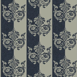 Wallpaper Worldwide - Deluxe - Embellished Stripe Wallpaper, Blue, Grey - Material: Non-woven. Velvet.