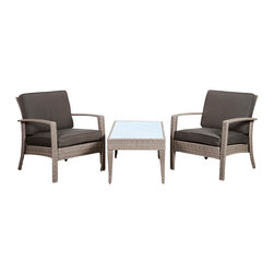 International Home Miami - Atlantic Corfu Deluxe 3 Piece Wicker Conversation Set Grey w/ Grey Cushions - Corfu Deluxe 3 Piece Wicker Conversation Set Grey with Grey Cushions belongs to Atlantic Collection by International Home Miami Great quality, stylish design patio sets, made of aluminum and synthetic wicker. Polyester cushion with water repellant treatment. Enjoy your patio with elegance all year round with the wonderful Atlantic outdoor collection.  Armchair (2), Coffee Table (1)