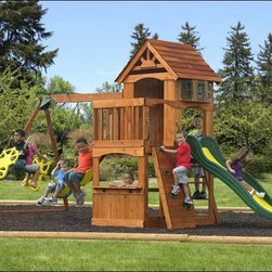 Fifthroom - Cedar Atlantic Playset - Make the playground right out your backdoor with this beautiful and functional Chinese cedar play set.  Complete with sandbox, activity shelf, slide, ladder, solid rock wall, two swings, and a two-person glider, kids will find new excitement for outdoor play.  Pair it with their own child-size outdoor furniture, and don�t be surprised if you never find your kids cooped up in the house again.