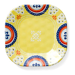 Q Squared NYC - Montecito Blue Emblem Appetizer Plate - Transport your dining table to historical Montecito with the beautiful, vibrant colors of this collection, inspired by the intricate tiles and textures of the romantic city.
