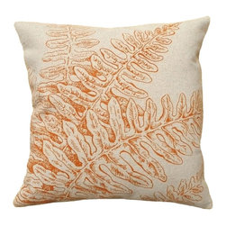 123 Creations - Fern, Hand-printed Linen Pillow - Hand-printed on unbleached linen fabric. Feather-down insert with zipper closure. Machine wash cold with like colors, no bleach, tumble dry low.