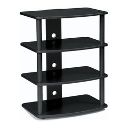 Plateau - SF-4A Audio Stand in Black Oak Finish - Fill your home with sound, with help from this four-level audio stand!  It's available in black or silver finishes (to give it the look you want), and further customizable through the use of four optional shelf finishes.  The design is sturdy and highly effective, and stands ready to revolutionize your audio experience!  Give your audio some visual appeal with the SF Series Four Level Audio Stand.  Available in your choice of 4 different finishes. Superior modern styling using real oak. Strong heavy gauge 1.5 in. steel tubes. Made from ash veneer laminated to MDF. Black baked powder-coat finish. Minimal assembly required. 23.5 in. W x 15.5 in. D x 30 in. H (40 lbs.)This Series offers style, form and functionality to any audio/video system. Gently contoured and shaped shelves that are available in a natural Black Oak wood veneer. All models contain a built in wire management system. Heavy gauge 1.5 in. [ 38mm ] steel posts available in a Silver baked powder-coated finish. Assembles in less than 10 minutes.