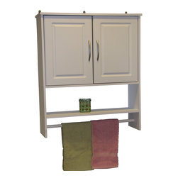 4D Concepts - 4D Concepts Bathroom 2-Door Wall Cabinet in White - What a wonderful storage space saving unit for your bathroom! This hanging cabinet has 2 decorative vacuumed formed doors with shaped pewter colored handles that swing open to a large opening . The shelf below the doors is great for washcloths and any other nick knacks. The painted wooden rod is great for hanging towels etc. The hanging cabinet fits nicely in any bathroom in the home and offers additional storage. Constructed of composite board and highly durable PVC laminate. Clean with a dry non abrasive cloth. Assembly required.