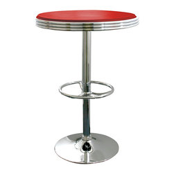 Buffalo Tools - AmeriHome Soda Fountain Style Bar Table - Red - Soda Fountain Style Bar Table - Red by AmeriHome The retro AmeriHome Soda Fountain Style Bar Table adds a classic design to the kitchen, bar, game room, basement, or shop. The bar table has the retro style reminiscent of the days of diners and drive-ins, and features a polished chrome base that is accented with a red vinyl top for a hint of classic vintage design.  The Soda Fountain Style Bar Table measures 25 inches in diameter, with a textured vinyl covering on the tabletop for easily wiping up spills.  The table features a built in footrest and an adjustable height, which makes this table comfortable for both kids and adults.  Classic vintage style 25 in. diameter table top Textured vinyl covering on tabletop Adjustable height from 26 to 36 in. 200 lbs. weight capacity