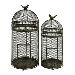 "Benzara - Metal Bird Cage For Those Who Have Passion For Birds Keeping - Set of 2 - Support your garden decor with 63182 Metal BIRD CAGE Set of 2. It is an excellent anytime low priced garden decor upgrade option with great utility for those who have passion for birds keeping. Just have a look over this wall sculpture beauty, you will fall in instant love with its beauty. It creates unique image of stylish birds lovers. Presence of bird over the top makes it more meaningful.; Material: Rust free metal alloy shaped in cylindrical form with contoured top; Color: Gray- brown with traces of black; Unique Decor for garden and porches; Kids love to play with birds in it; Dimensions: 25.10""H x 27.50""W x 13.70""D (min. aprox. dimensions)"