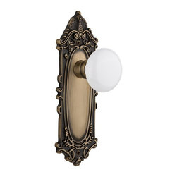 Nostalgic - Nostalgic Privacy-Victorian Plate-White Porcelain Knob-Antique Brass (NW-702054) - Victorian Plate with White Porcelain Knob With Keyhole - Privacy