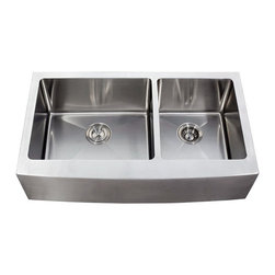 "Ariel - 36 Inch Stainless Steel Curved Front Farm Apron 60/40 Double Bowl Kitchen Sink - This full sized farmhouse apron kitchen sink features 15mm radius interior corners and double 60/40 bowls made of 16 gauge stainless steel. Exterior Dimensions 35-7/8"" x 20-3/4"". Left Bowl Interior 19"" x 16"". Right Bowl Interior 13"" x 16"". Apron Depth 9"". Bowl Depth 10""."