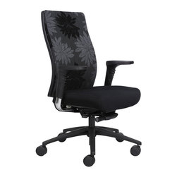 Safco - Safco Bliss High Back Chair in Black Print - Safco - Office Chairs - 7201BL1 - Be the envy of your office with this distinctly designed chair. The seat back beautifully works with your body for a relaxing experience throughout your workday. For even more gratifying luxury the high back chair features height-adjustable arms and a 4-position locking synchro mech with tilt tension control. The mid back features fixed arms with a simple synchro mech. Both chairs available in two print colors or standard Black. Everyone will set their sights on this chair.