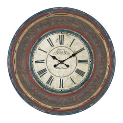 """Benzara - Wood Wall Clock with Large Roman Numerals - Easy to fit on the walls of your home, this vintage designed clock will infuse great charm to your living space. With its large roman numerals in bright hue of blue, it is easy to read the time at a glance. Moreover, the black colored minute and hour hands stand out brightly in contrast to the large, off-white dial. The broad frame is made of wood and is enriched with fine artwork and floral carvings. The frame is bestowed with colors of blue, red and white, and crafted with a weathered finish that makes it look rustic. Grant a stylish and rustic touch to your living space by adoring the walls of your home with this resplendent wood wall clock. While the frame is built with high quality wood, the clock mechanism is created with high standard.; Large roman numerals; Black colored minute and hour hands; Built with high quality wood; Highly durable; Weight: 17.2 lbs; Dimensions:34""""W x 2 1/2""""D x 34""""H"""