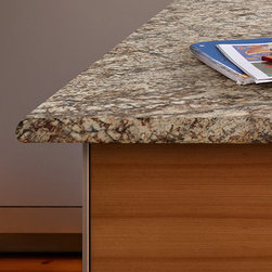 Decorative Edges - Wilsonart® HD®  Decorative Edges are designed to enhance and emulate the look of real granite countertops. Beveled, Cascade, and Crescent are three of our most popular. Shown in this photo is the Crescent edge, one of Wilsonart HD Decorative edges that give you more options for achieving a unique stone look.