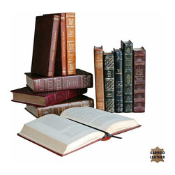 Sarreid Ltd - Rebound Leather Books - Attention readers of the world! If you have a bookcase, nothing looks better than bound leather books. Unless they're old books, hand bound in leather. That art is dying out, so get these while you can.