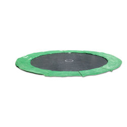 """In-Ground Trampolines - 15' In-Ground Trampoline, Green Pad - This new Generation III 15' in-ground round trampoline includes an upgraded galvanized and powder-coated steel frame held together with all stainless steel hardware designed to stand up to the most extreme elements. 120 heavy duty 8.5"""" galvanized Super Springs, heavy duty polypropylene jump surface and an 18 ounce extra wide UV resistant protective pad in your choice of blue or green. Our warranty for the frame assembly is 5 years, the pads and jump mat 2 year. We will replace any defective parts given the product was installed properly and not abused. Returns on this item unless due to damage or the wrong item being sent are subject to a $200.00 freight/restocking fee."""