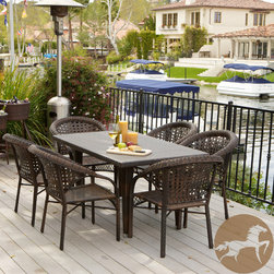 Christopher Knight Home - Christopher Knight Home River 7-piece Outdoor Dining Set - Never again worry about surprise barbecues or outdoor events with multiple guests. Made of environment-friendly synthetic wicker, the River 7pc outdoor dining set is sturdy and stylish.