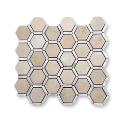 """GlassTileStore - Florentine Pearl Crema Marfil Marble and Pearl Glass Tile - Florentine Pearl Crema Marfil Marble and Pearl Glass Tile             Each piece of this stone and pearl tile fits into the next like a perfect puzzle. Its stunning design and unique pattern of honeycomb will bring warmth and a natural ambience to your home. The mesh backing not only simplifies installation, it also allows the tiles to be separated which adds to their design flexibility. Natural stones are products of nature therefore variations in color, pattern, texture and veining will occur.          Chip Size: 2"""" Hexagon, 1 1/4"""" x 1/3"""" Lines   Color: Crema Marfil   Material: Marble and Pearl   Finish: Polished   Sold by the Sheet - each sheet measures 12"""" x 12"""" (1 sq. ft.)   Thickness: 10mm   Please note each lot will vary from the next.            - Glass Tile -"""