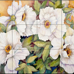 The Tile Mural Store (USA) - Tile Mural - Peonies Dressed In White - Kitchen Backsplash Ideas - This beautiful artwork by Joanne Porter has been digitally reproduced for tiles and depicts a closeup of some Peonies.  With our enormous selection of tile murals of plants and flowers you can bring your kitchen backsplash tile project to life. A decorative tile mural with plants and flowers is an impressive kitchen backsplash idea and decorative flower tiles also work great in the bathroom. Add splashes of color and life to your tile project with images of flowers on tiles and tiles with pictures of plants.