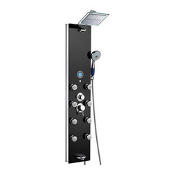 None - Blue Ocean Lightweight 52-Inch Aluminum Shower Panel Tower with Rainfall Shower - This shower panel is made of high quality aluminum frame with tempered glass surface. It comes with several functions, including an overhead shower, a multi-functional hand-held showerhead, eight body massage nozzles and a tub spout.