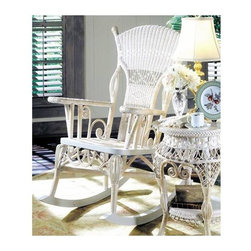 Spice Island Wicker - 37 in. Victorian Rocker Chair (White/Off-White) - Made from wicker. White color. Assembly required. 37 in. L x 33 in. W x 44 in. H (30 lbs.)