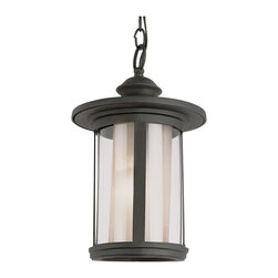 Trans Globe Lighting - Trans Globe Lighting Tea Chimney Transitional Outdoor Hanging Light - The clear exterior cylinder of this Trans Globe Lighting outdoor hanging light compliments the coordinating interior cylinder, which is constructed of a tea stained glass for added warmth. From the Tea Chimney Collection, the updated look of this outdoor security lighting fixture is complimented by gentle turned detailing and a Black finish.