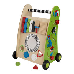 Kidkraft - KidKraft Push Along Play Cart - Kidkraft - Educational Toys - 63246 - Our Push Along Play Cart puts a tracking maze a play xylophone and a shape sorter all together into one adorable toy. On top of all of that kids get to push it around from room to room as they play! With fun vivid colors including a tracking maze with four different pieces to move shape sorter play xylophone and movable blocks. Built with smart and sturdy construction this item also rolls on 4 black and green wheels.