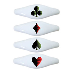 Carolina Hardware and Decor, LLC - Set of 4 Playing Cards Poker Ceramic Pull Handle, Drawer Pulls - New ceramic cabinet, drawer, or furniture pull with mounting hardware included. Pull has standard three inch centers.  Can be wiped clean with a soft damp cloth. Great addition and nice finishing touch to any room!