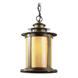 Trans Globe Lighting - 40213 ABZ Antique Bronze 1 Light 17 Outdoor Pendant with Honey Glass - Number of Bulbs: 1