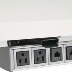 PCS60B-94 - Under-desk mount power and data system slides out towards the surface edge and locks into place, then slides back into stow position when not in use with simple one touch operation. Track system creates a unique hideaway feature that separates this unit from other stationary under-desk models. Easy installation, easy access.