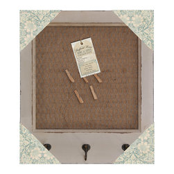 Enchante Accessories Inc - Framed Clip board over Fabric Pin Board Organizer with Hooks (Shabby White) - Keep track of notes and memos, leave reminders for important events, hang images for inspiration, or display photos on this shabby chic pin board organizer.  The Framed Clip board over Fabric Pin Board Organizer with Hooks has a distressed finish and a vintage inspired design that blends perfectly into any shabby chic or rustic room design.  Constructed from solid wood, this board features a large rectangular frame with a painted finish and distressed edges that reveal hints of the natural wood underneath.  The center of the board is detailed with burlap fabric beneath a fine wire metal grate that offers different display techniques.  The burlap fabric background can be used as a traditional pin board to hang photos, memos, shopping lists, to do lists, and note cards with simple thumb tacks or colorful push pins.  The wire mesh grating can be used to hang a selection of your favorite photos, display your most used family recipe cards, or hang inspirational images with the use of the included traditional wooden clothes pins.  Offering two layers of storage and different display techniques, this board can even be used to hang jewelry or hold hair accessories or other personal items.  At the bottom of the frame are three traditional metal hooks that provide a place to hang key rings, scarves, vintage signs, or other small items.Hang this pin board organizer in a bedroom for use as a jewelry board, in an office to keep track of schedules and appointments, in a kitchen to remind yourself of needed groceries and recipe ideas, or in a mud room or entryway that needs a decorative element.  Fashionable and functional, this framed clip board organizer is available in neutral shabby white or distressed green to suit your personal style or coordinate with your current room d�cor.  Both color options feature the same dark metal hooks and natural brown burlap fabric background.