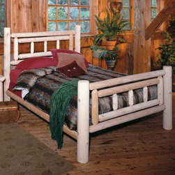 Rustic Cedar - Deluxe Slat Bed - Add warmth and charm to your home or retreat with these cedar log beds. Each bed comes complete with headboard, footboard, and side rails. Note: All Rustic beds come with a headboard, footboard, and side rails. At an additional cost, metal support systems for double, queen, and king beds are available. King beds will NOT support California king mattresses or box springs. Bed dimensions are outside-to-outside, and may vary due to log size. Features: -Comes with headboard, footboard, and side rails.-Dimensions are outside-to-outside, and may vary due to log size.-King size will ship Truck Freight.-8'' clearance under bed.-About Cedar Cedar is the natural choice because of its beauty, practicality and durability. Rustic Cedar uses only the finest cedar to create furniture that lasts for generations. It is naturally resistant to decay, insect and weather damage. Because of this superior resistance, cedar is frequently used for outdoor fencing, and siding on homes. Cedar has an exceptionally high strength-to-weight ratio, which means that it is both durable and easy to move about. It does not shrink or wrap as many other woods commonly do. Unlike pressure-treated wood furniture, Rustic Cedar uses no chemical preservatives that may be harmful to your family's health. All cedar log furniture is subject to the natural process of checking as the wood ''seasons.'' Checking occurs as wood releases moisture across or through the annual growth rings and it does not affect the structural performance or integrity of the wood. Therefore cracks in Cedar furniture are quite normal and can happen at any time. The cracks can vary in sizes but are sure to not affect the quality or resistance of the product as this is a natural process of Cedar furniture..-Distressed: No.-Collection: Deluxe.-Country of Manufacture: Canada.Warranty: -Manufacturer's 5 year limited warranty. About the Manufacturer: About Rustic Cedar Furniture Crafted with care in Quebec and