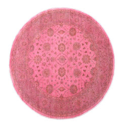 1800-Get-A-Rug - 100% Wool Hand Knotted Peshawar Overdyed Pink Round Oriental Rug Sh15177 - Oushak stands for the western Anatolian Turkish city, known for its rare collectible rugs made during the Ottoman Empire. Today we are recreating these historical carpets, in the centuries-old hand weaving techniques, the same fantastic designs in a variety of colors to fit today's decor and taste using natural dyes and hand spun wool. Ziegler stands for Ziegler and company, German based oriental rug importer which operated between 1880-1920. They originally produced and imported these precious carpets in the Mahal region in Iran, specifing to the locals the German and European taste.