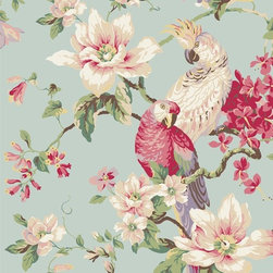 Tropical Birds and Magnolias Wallpaper - Tropical birds are a bright touch for bathroom or kitchen walls.