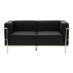 """LexMod - Charles Grande Loveseat in Black - Charles Grande Loveseat in Black - Urban life has always a quandary for designers. While the torrent of external stimuli surrounds, the designer is vested with the task of introducing calm to the scene. From out of the surging wave of progress, the most talented can fashion a forcefield of tranquility. Perhaps the most telling aspect of the Charles series is how it painted the future world of progress. The coming technological era, like the externalized tubular steel frame, was intended to support and assist human endeavor. While the aesthetic rationalism of the padded leather seats foretold a period that would try to make sense of this growth. The result is an iconic sofa series that became the first to develop a new plan for modern living. If previous generations were interested in leaving the countryside for the cities, today it is very much the opposite. If given the choice, the younger generations would rather live freely while firmly seated in the clamorous heart of urbanism. The Charles series is the preferred choice for reception areas, living rooms, hotels, resorts, restaurants and other lounge spaces. Set Includes: One - Le Corbusier LC3 Loveseat Mid-Century Modern Loveseat, Genuine Leather Seating Surface, Foot caps to prevent scratching, Tufted seat and back with buttons Overall Product Dimensions: 26""""L x 59""""W x 27.5""""H Seat Dimensions: 23.5""""L x 43.5""""W x 17""""H - Mid Century Modern Furniture."""