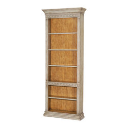 Ambella Home - Cavalier Park Bookcase - This bookcase will make even dry, boring business books look fascinating. The hand rubbed, antique Scandinavian blue-gray finish brings a touch of the countryside right into your space. Four adjustable shelves make plenty of room for those (yawn) business bestsellers.