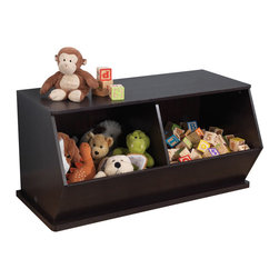 Kidkraft - KidKraft Double Storage Unit in Espresso - Kidkraft - Storage Bins - 14174 - Say goodbye to all that clutter! Our Espresso Double Storage Unit will help keep any room of the house tidy and organized.