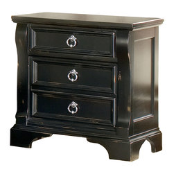 American Woodcrafters - Heirloom Nightstand - Three drawers. Top drawer with felt lined bottom to keep smaller night time essentials. Wood molding with mitered corners. Drawers are 12.75 in. front to back. English dovetail drawer construction with solid wood sides and backs. Center guided metal drawer glides. Plastic drawer stops. Dust proofing on bottom drawers for added protection. Tenon and mortis construction. Framed end panels. Pewter rings and escutcheons. Tip resistant furniture bracket for added safety. Sturdy decorative feet. Made from select hardwoods and veneers. Black finish with rub through highlights. No assembly required. 29 in. W x 17 in. D x 29.5 in. H (63 lbs.)An heirloom is a timeless treasure that passes from generation to generation bringing each family member immeasurable joy through memories. The Heirloom Nightstand is a masterful piece of tradition. The top drawer has a felt lined bottom to keep your smaller night time essentials from shifting around or to protect your daily jewelry. Enjoy a tradition of creating ageless family heirlooms with the Heirloom Three Drawer Night Stand.