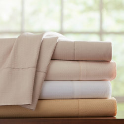 Pointehaven - Pointehaven Dobby Pima Cotton Sheet Set and Pillowcase Separates - A luxurious windowpane pattern adds sophistication to this comfortable sheet set. Designed with pure 100-percent Pima cotton,these soft sateen sheets come in several relaxing colors and are fully machine washable.