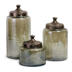 "IMAX - Round Green Luster Canisters - Set of 3 - Attractive round hammered luster glass canisters with hammered nickel lids Item Dimensions: (6.75-10-13""h x 6-6-6.25""d)"