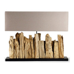 Kathy Kuo Home - Vertico Riverine Root Modern Rustic Burlap Shade Table Lamp- Long - Earthy and raw, the Vertico Table Lamp resembles a series of jagged rocks or the silhouette of a crumbling cityscape.  Organic visual appeal is at the center of its sculptural design, with an arrangement of natural reclaimed driftwood leading the eye to its contrastingly refined taupe linen shade.  Perfectly scaled for long console tables, shelves and mantels, it will serve as an eye-catching lighting option in beach homes, it will add a hint of nature to the city-dwellers dwelling and is sure to find its place in a range of other contemporary settings.
