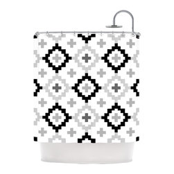 """Kess InHouse - Pellerina Design """"Black White Moroccan"""" Grey Geometric Shower Curtain - Finally waterproof artwork for the bathroom, otherwise known as our limited edition Kess InHouse shower curtain. This shower curtain is so artistic and inventive, you'd better get used to dropping the soap. We're so lucky to have so many wonderful artists that you'll probably want to order more than one and switch them every season. You're sure to impress your guests with your bathroom gallery in addition to your loveable shower singing."""