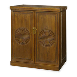 """China Furniture and Arts - Elmwood Longevity Bar Cabinet - Our elmwood flip-top bar cabinet can be used as a sideboard in the dining room. With the ancient Chinese longevity symbols hand-carved on both the front and back, its smooth clean lines make it a fine example of Ming Dynasty (1368-1644) furniture style. Doors feature slots and shelves for glassware storage. Inside, there's ample storage for wine bottles, pitchers, decanters, etc. Swivel shelf conveniently holds stemware. Cabinet opens to extend to 72""""L surface space with built in casters on the bottom, it is practical and beautiful to add to your home collection. Hand applied walnut finish."""