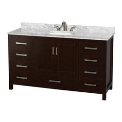 "Wyndham Collection - Sheffield 60"" Espresso Single Vanity w/ Carrera Marble Top & Undermount Oval Sin - Distinctive styling and elegant lines come together to form a complete range of modern classics in the Sheffield Bathroom Vanity collection. Inspired by well established American standards and crafted without compromise, these vanities are designed to complement any decor, from traditional to minimalist modern. Available in multiple sizes and finishes."
